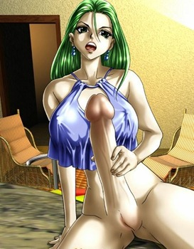 futafan green haied hottie and her extra large dick